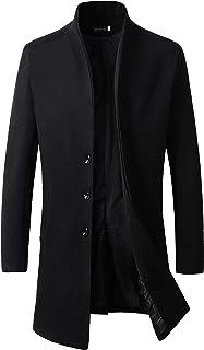 Benibos Men's Trench Coat Winter Long Jacket Button Closer Overcoat