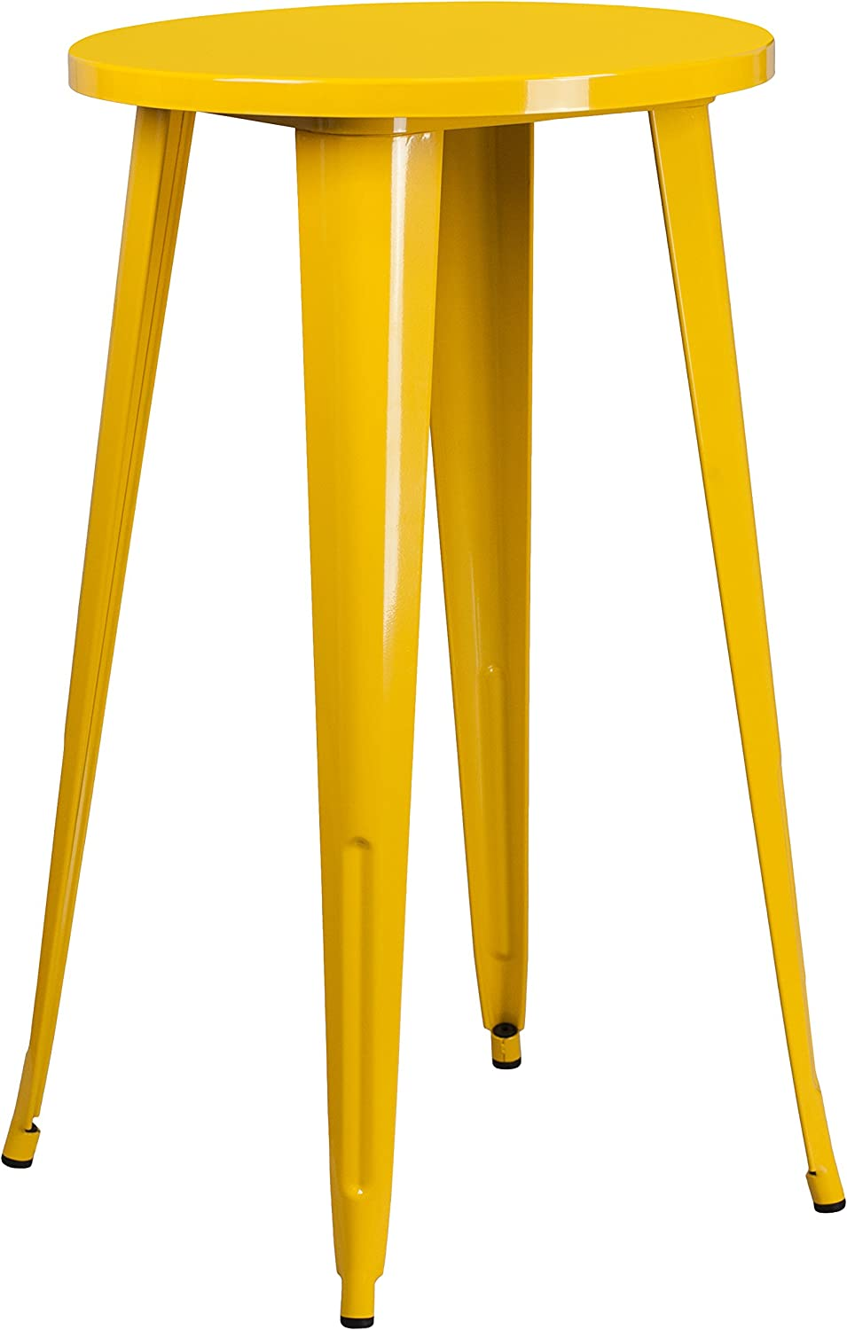 Flash Furniture CH-51080-40-YL-GG 24' Round Yellow Metal Indoor-Outdoor Bar Height Table