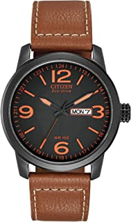 "Citizen Men's BM8475-26E ""Eco-Drive"" Stainless Steel and Synthetic Leather Strap Watch"