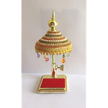 Tej Gifts - Diamond Studded Decorated Umbrella Chhatra for God Idol for Car Dash Board Gift Item - Small