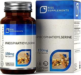Fosfatidilserina [20%] 150 mg (de Soja) | 120 Cápsulas Veganas | Hecho en el Reino Unido - Sin OGM | Rise Supplements