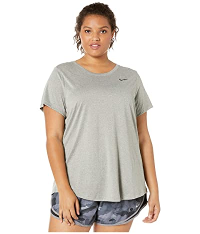 Nike Dry Legend Crew Tee (Sizes 1X-3X) (Dark Grey Heather/Black 1) Women