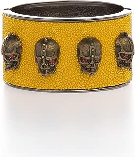 Edgy & Chic Yellow Genuine Stingray Cuff Bracelet w/Skulls