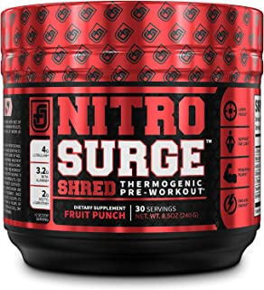NITROSURGE Shred Pre Workout Supplement - Energy Booster, Instant Strength Gains, Sharp Focus, Powerful Pumps - Nitric Oxide Booster & PreWorkout Powder - 30Sv, Fruit Punch