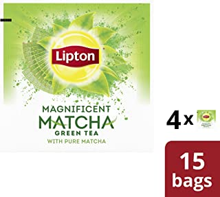 Lipton Magnificent Matcha Green Tea for a flavor steeped in tradition with Matcha 100% Rainforest Alliance Certified 15 count pack of 4