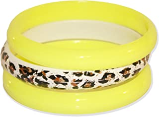 Neon Nation 3 Pack Bangles w/Cheetah Print 80s Style Bracelets