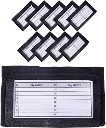discount GSM Brands Quarterback (QB) sale Play Wristband - Youth Size - Pro Football Armband lowest Playbook - 10 Pack (Black) sale