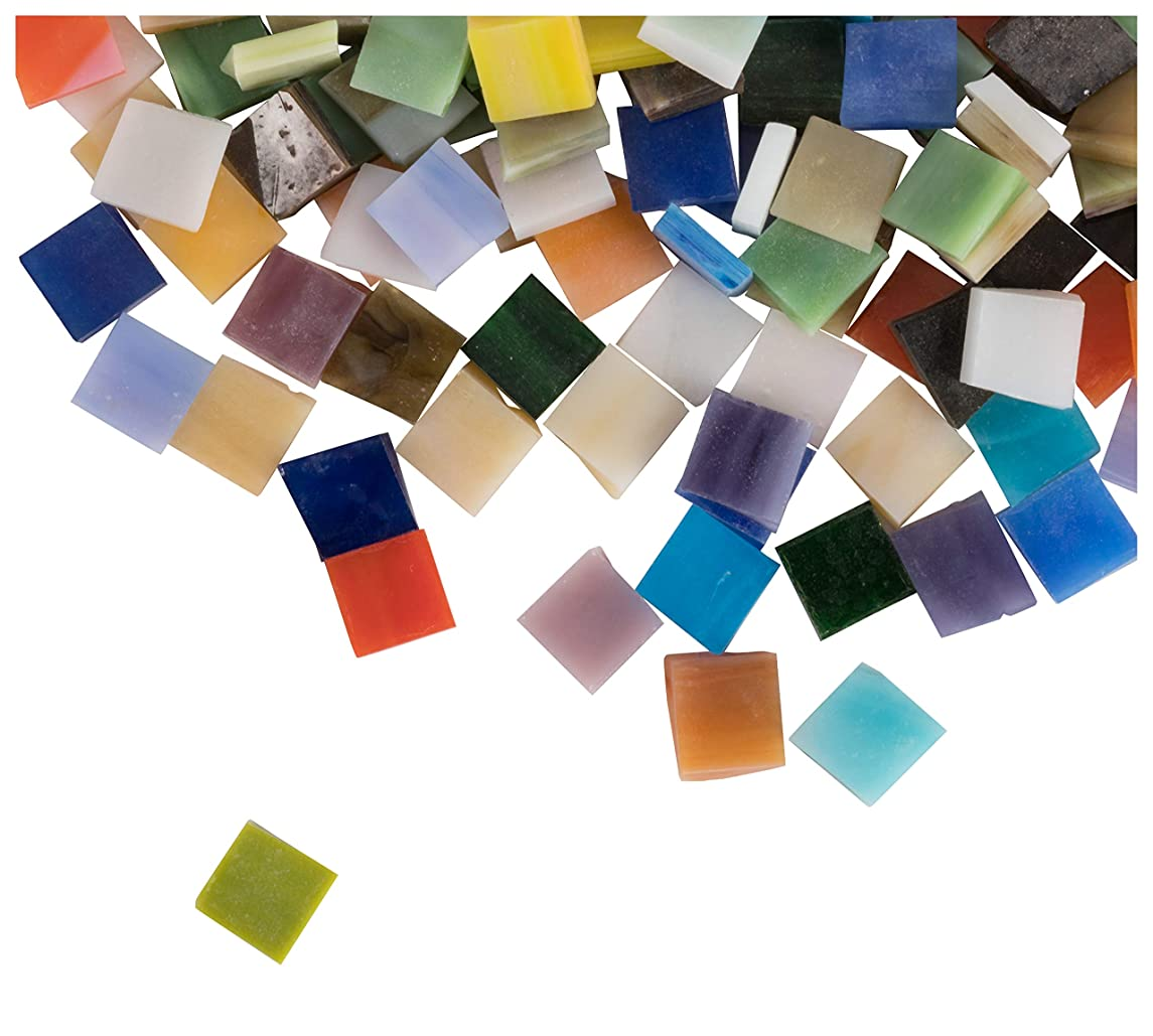 Mosaic Tiles - 1000-Pack Glass Mosaic Pieces, Mosaic Chips, Opalescent Glass Mosaic, for Home Decoration, Craft Supplies, DIY Art Projects, Square Shaped, 40 Assorted Colors, 0.4 x 0.4 x 0.1 inches