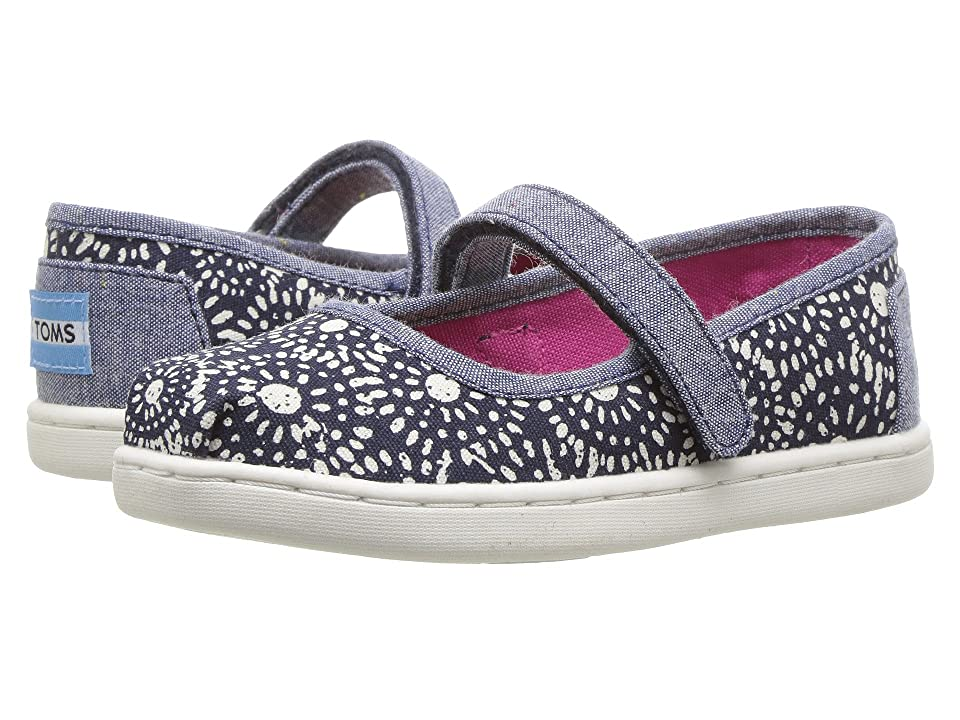 TOMS Kids Mary Jane Flat (Infant/Toddler/Little Kid) (Navy Shibori Dots) Girls Shoes