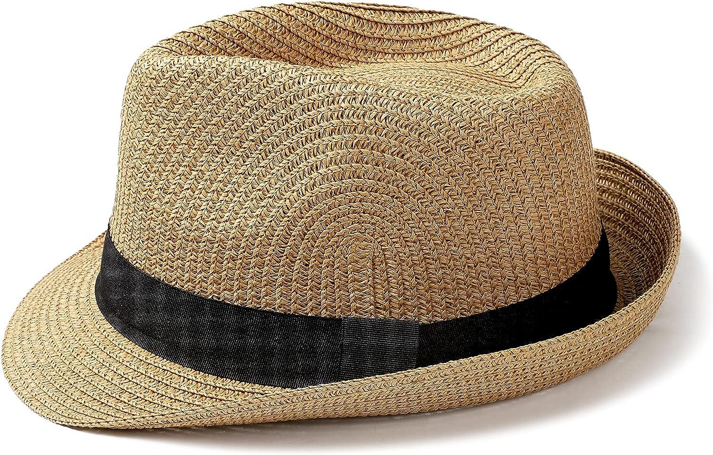 Womens Fedora Straw Sun Hat Mens Trilby Hat Short Brim Foldable Roll Up Summer UPF 50+ Panama Beach Hats(Khaki,Medium)