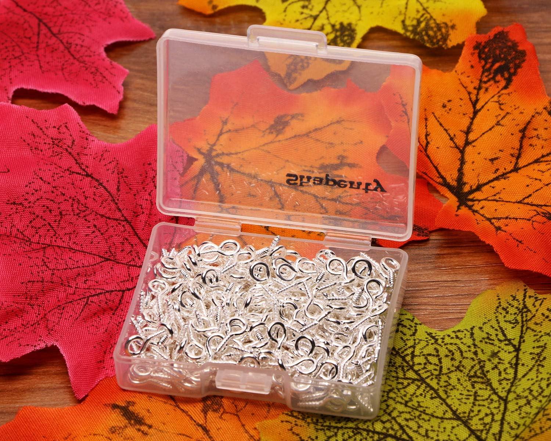 300PCS Charm Bead Cork Top Bottles DIY Jewelry Making Findings Shapenty Mini Metal Hoop Peg Screw Eye Pin Hook for Arts /& Crafts Projects Bright Silver