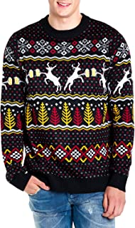 Men's Deer with Beer Christmas Sweater - Black Caribrew...