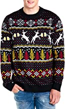 Tipsy Elves Men's Deer with Beer Christmas Sweater - Black Caribrew Ugly Christmas Sweater