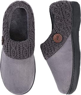 EverFoams Women's Comfy Suede Memory Foam Slippers Classic Woolen Yarn Knit Collar House Shoes with Retro Button Decor