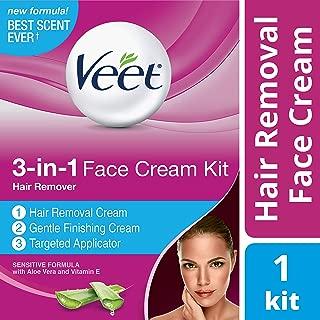 Veet 3-in-1 Face Cream Hair Remover Kit (2 x 1.69oz), Sensitive Formula With Aloe Vera & Vitamin E