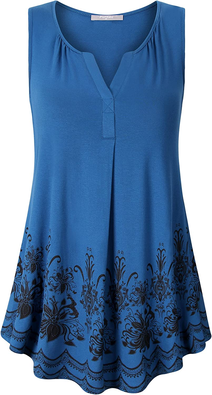 Furnex Women's Summer Sleeveless Tunics Floral Casual Loose Comfy Flowy Tank Tops