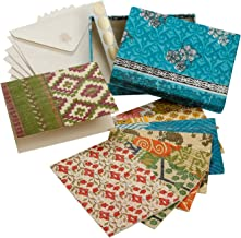 Set Of Eight Assorted Recycled Cloth And Paper Blank Greeting Cards 'Correspondence Card Set'