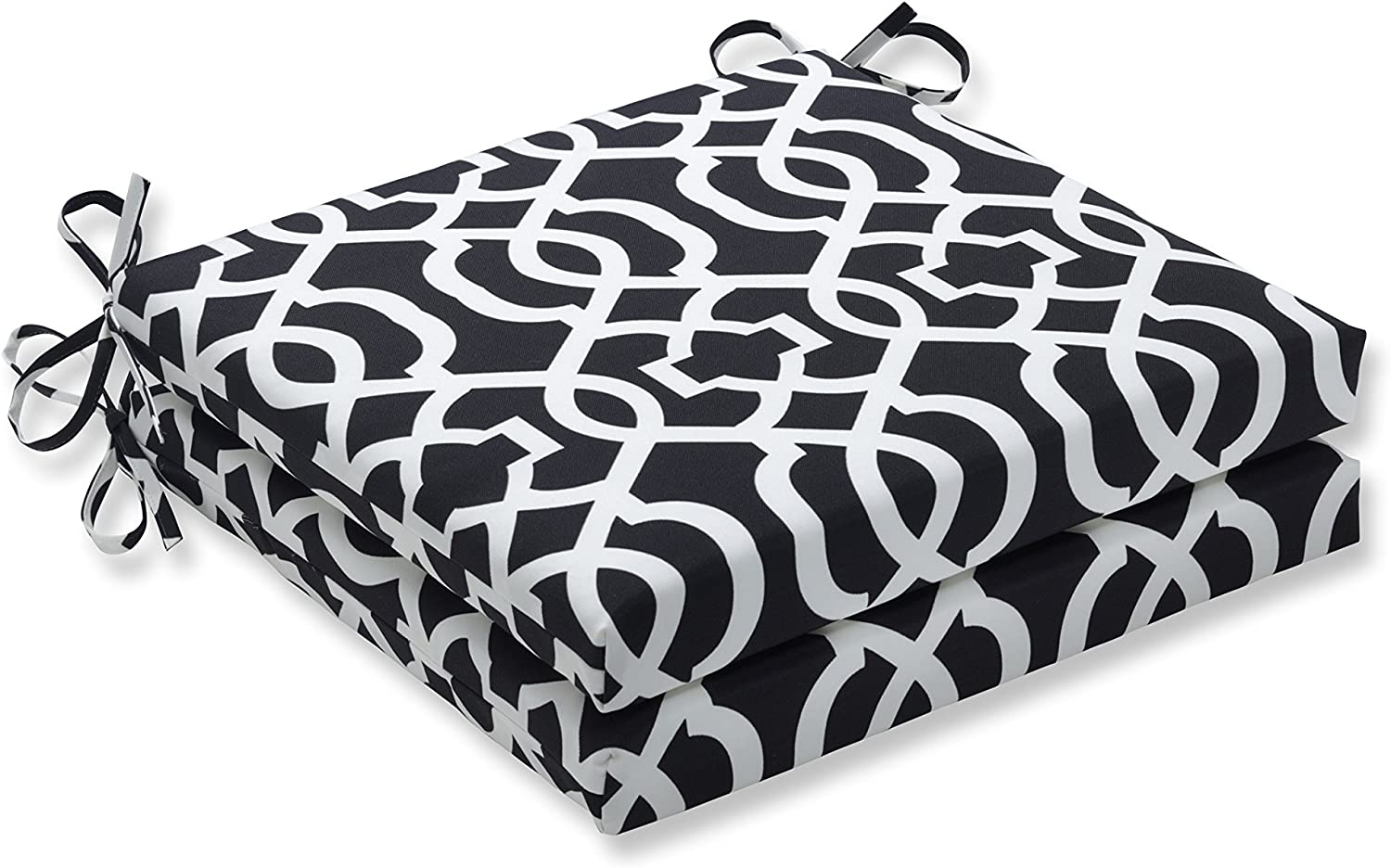 Pillow Perfect Outdoor New Geo Squared Corners Seat Cushion, Black White, Set of 2, Black, 20 in. L X 20 in. W X 3 in. D