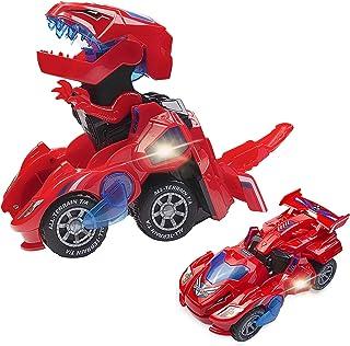 Transforming Dinosaur Toys,Transforming Dinosaur Car,2 in 1 Automatic Transform Dino Cars with Music and LED Light,Dinosau...