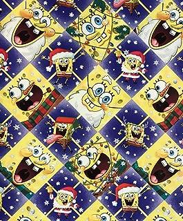 Spongebob Squarepants Christmas Diamond Wrapping Paper Gift Wrap (3.33 Feet Wide - 70 Sq Feet)