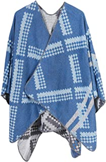 XueXian Womens Winter Warm Blanket Cape Wrap Shawl Cardigan Large
