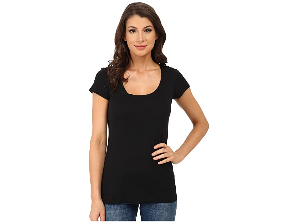 Allen Allen Basic Cap Sleeve Scoop Neck Tee (Black) Women's T Shirt