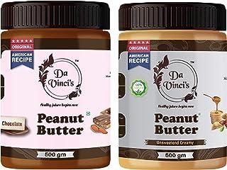 Da Vinci's Natural Peanut Butter Chocolate + Creamy (500g+500g) 1 kg | Made with Roasted Peanuts, Cocoa Powder & Choco Chi...