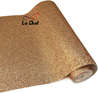 """La Chat 8"""" x 53"""" (21cm x 135cm) Roll Sparkly Superfine Glitter Vinyl Fabric Fine Glitter PU Leather Canvas Back Material for Shoes Bag Sewing Patchwork DIY Bow Craft Applique(Champagne Gold)"""