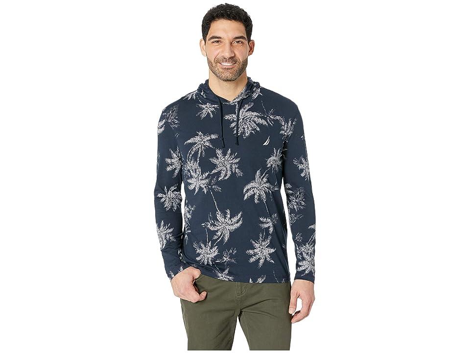 Nautica Long Sleeve Palm Print Hoodie (Navy) Men