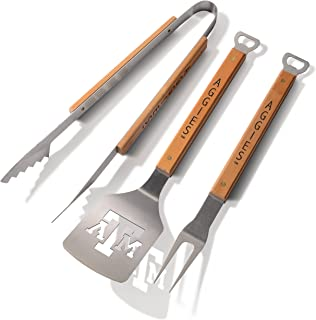 NCAA 3-Piece BBQ Grill Set: Classic Series Sportula, Fork & Tongs with 2 Bottle Openers by YouTheFan