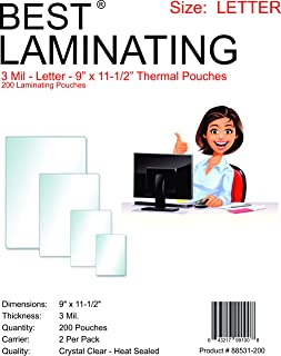 Best Laminating 200 Pouches, 3 Mil Clear Letter Size, Thermal Laminating Pouches, 9