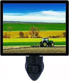 Night Light, Farming, Tractor in Field, Cultivating
