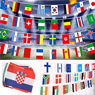 Yoogeer 32 Pcs String Flag,26 Feet Group Match 32 Teams Countries Soccer Decoration Banners for Restaurants, Sport Bars, Game Night,The 2019 FIFA Women's World Cup Decorations