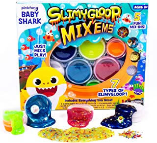 Baby Shark Ultimate Mix'EMS by Horizon Group USA, Enjoy Squishing & Squeezing 7 Types of Gooey,Putty,Stretchy Slime. Mix in Stars, Figurines & More for Additional Sensory Play, Multicolored