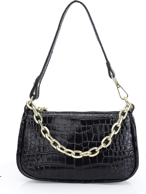 Classic Clutch Shoulder Bag with Zipper Closure for Women