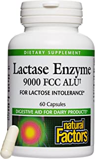 Natural Factors, Lactase Enzyme, Digestive Aid For Lactose and Dairy Intolerance, 60 capsules (60 servings)