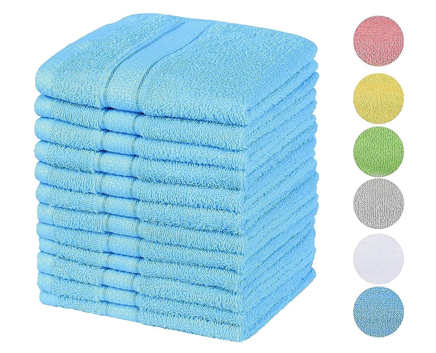 大佐引き金あいまいさ(Blue) - Chama Premium Luxury 100% Cotton Basic Baby & Hotel & Kitchen Hand Towels 33cm x 33cm Washcloth Set of 12 Pack(Blue)