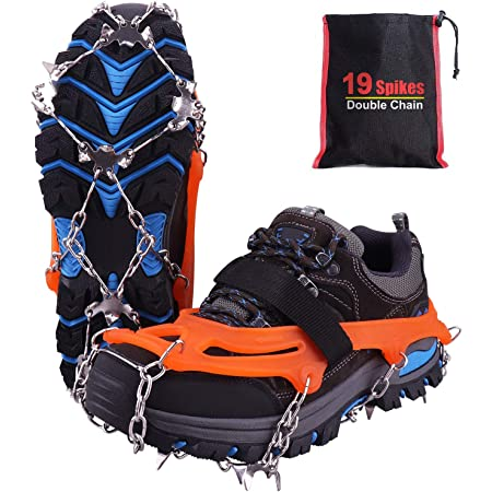 Rakaraka Crampones Nieve Hielo, 19 Dientes Tacos de tracción Nieve y Hielo Tracción para Invierno Deportes Montañismo Escalada Caminar Alpinismo Cámping Acampada Senderismo
