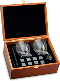Whiskey Stones and Whiskey Glass Gift Boxed Set - 8 Granite Chilling Whisky Rocks + 2 Glasses in Wooden Box - Great Gift for Father's Day, Dad's Birthday or Anytime For Dad