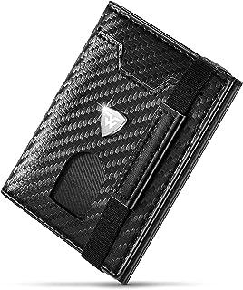 wilbest® Portafogli Uomo con Tracolla, Portafogli uomo in Pelle Piccolo Sottile Fibra di Carbonio Blocco RFID 8 Fessure pe...