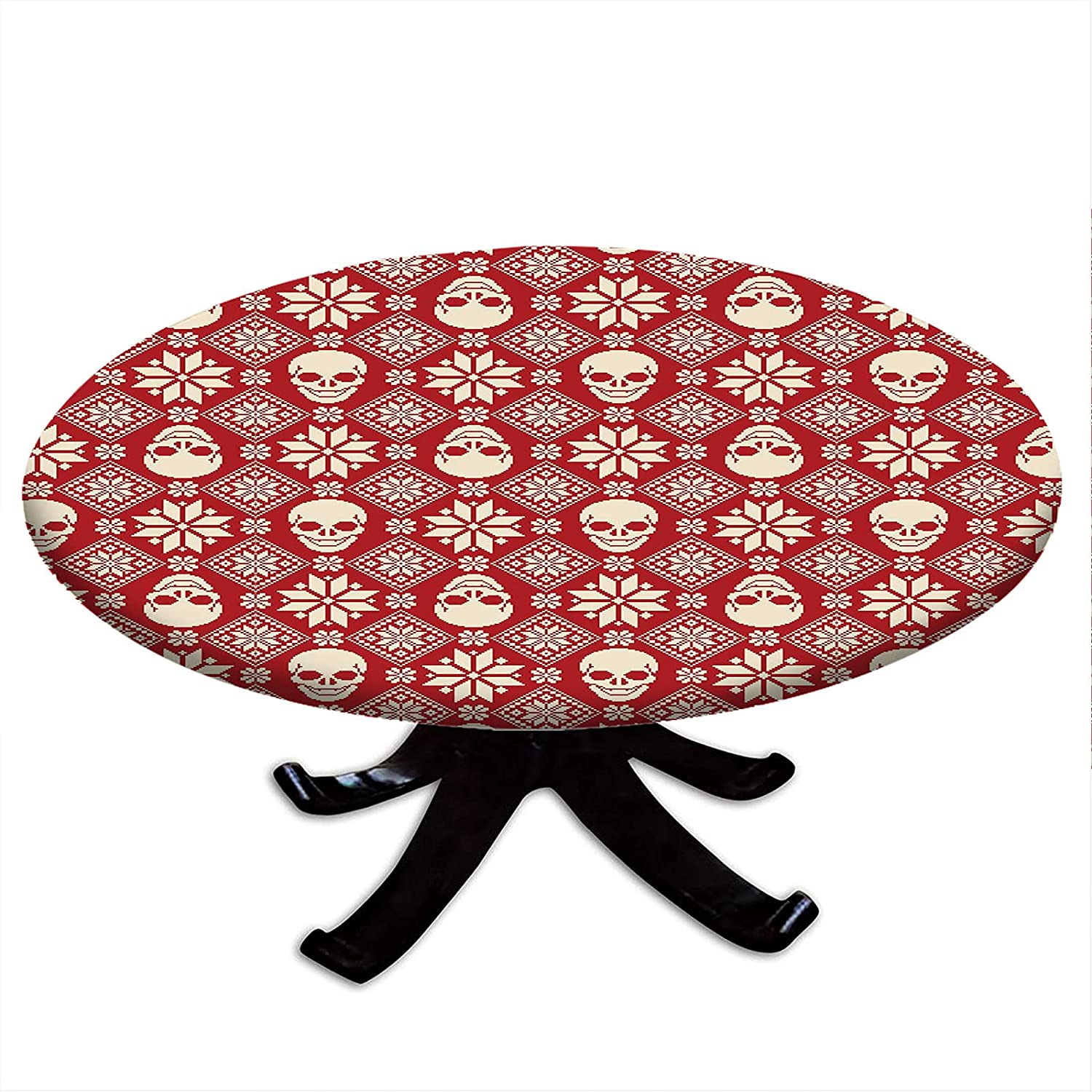 Round Tablecloth with Time sale Elastic Edges Skull Stitch Nordic Max 42% OFF Pattern