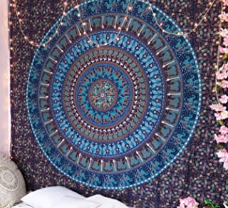 Blue Camel Mandala Tapestry Hippie Mandala wall hanging Wall Tapestries Mandala tapestries Tapestry Wall Hanging Ombre Mandala Boho Tapestries (Blue Camel Elephant, Queen(84x90Inches)(215x230Cms))