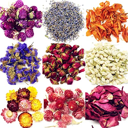 Oameusa Dried Flowers,Dried Flower Kit,Candle Making, Soap Making, AAA Food Grade-Pink Rose, Lily,Lavender,Roseleaf,Jasmine Flower,9 Bags
