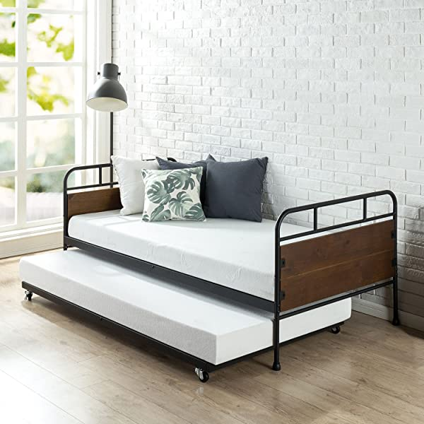Zinus Eli Twin Daybed And Trundle Frame Set Premium Steel Slat Support Daybed And Roll Out Trundle Accommodates Twin Size Mattresses Sold Separately