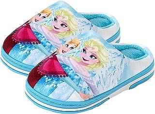 Princess Disney Frozen Elsa Plush Slippers for Girls Toddlers Kids Children - Blue