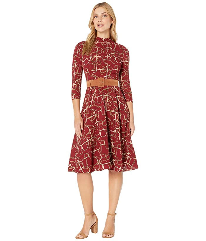 Donna Morgan  Status Print 3/4 Sleeve Lightweight Stretch Crepe Mock Neck Belted Dress (Merlot) Womens Dress