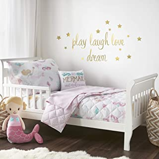 Levtex Baby - Mermaid Toddler Bed Set - Pink, Aqua, Taupe - Floral - 5 Piece Set Includes Reversible Quilt, Fitted Sheet, ...