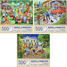 """Bits and Pieces-Value Set of Three(3) 500 Piece Jigsaw Puzzles for Adults-Each Puzzle Measures 18"""" X 24""""-500pc Backyard Barbeque, Family Car Wash, and Marshmallow Roast Jigsaws by Artist Sandy Rusinko"""