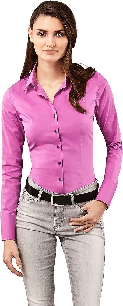 Vincenzo boretti, camicia-blusa per donna elegante, slim-fit, elastica-stretch, 72% cotone, 24% poliammide, 4% 10010738_2915