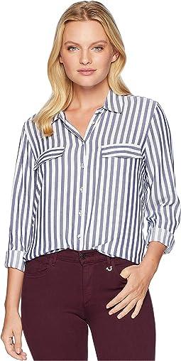 Long Sleeve 2 Faux Flap Pockets Shirt